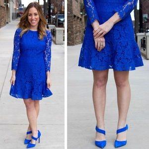 J crew long sleeve dress floral lace blue 4p